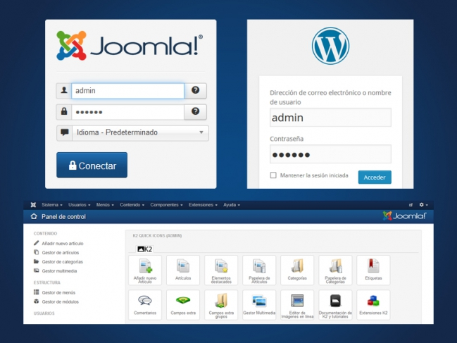 joomla y wordpress